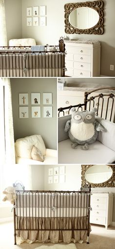 Soft, Neutral Nursery - Love the Jungle Picture Frames!