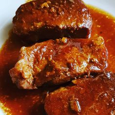 2 words = slow cooker  my goodness these sweet and sticky pork chops are amazing. Soy sauce brown sugar  tomato ketchup and 6 hours later = food heaven  #slowcooker #crockpot #porkchops #easyrecipes #feedingboys #yummy #recipes