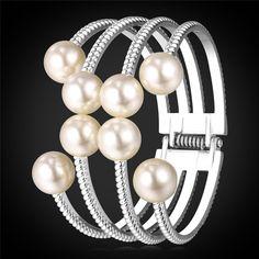 U7 Pearl Bracelets For Women Fashion Gold Plated Jewelry Wholesale Multi Layers Cuff Bracelets Bangles Pearl Jewelry H782