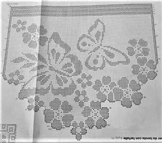 The post appeared first on Tapeten ideen. Filet Crochet Charts, Crochet Diagram, Crochet Patterns, Crochet Dollies, Cute Crochet, Knit Crochet, Embroidery Stitches, Embroidery Designs, Bohemian Curtains