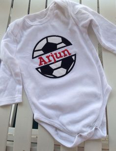 A personal favorite from my Etsy shop https://www.etsy.com/listing/194002338/split-soccer-onesie-personalized-split