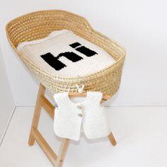 Cream with black Hi baby blanket, https://www.etsy.com/shop/YarningMade?ref=si_shop