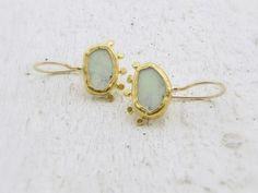 Lemon Jade Earrings 24k Solid Gold Earrings Lemon Jade by Omiya