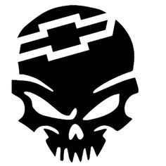 Chevy Skull Decal – Your Way Custom Decals and Tees Skull Stencil, Skull Art, Stencil Graffiti, Graffiti Tattoo, Chevy Stickers, Truck Stickers, Camisa Rock, Chevy Tattoo, Droopy Dog