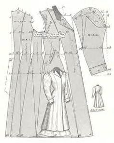 ... Back Pattern Pieces, Ladies' Travelling Ulster (Overcoat), circa 1910