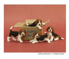 Beagle puppies in miniature - an ooak sculpture by Kerri Pajutee
