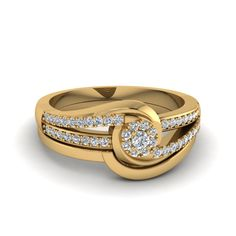 Shop round cut bypass cluster diamond wedding set in yellow gold at Fascinating Diamonds. This Preset Engagement Rings can be customized as per your desire. Mens Gold Bracelets, Mens Gold Rings, Gold Rings Jewelry, Womens Jewelry Rings, Sterling Silver Rings, Jewellery, Gold Ring Designs, Gold Bangles Design, Diamond Wedding Sets