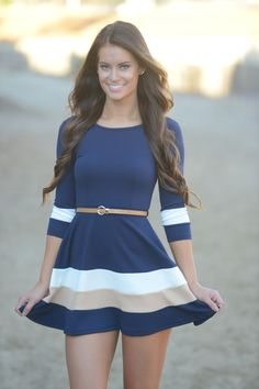 Picture this navy stripe dress with tights and riding boots. Fall perfection, right?