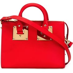 Sophie Hulme Mini Box Tote ($735) ❤ liked on Polyvore featuring bags, handbags, tote bags, red, red tote, genuine leather tote bag, mini purse, leather purse and mini tote bag