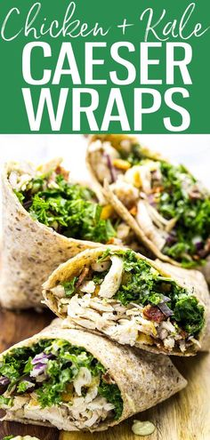 These veggie-filled Chicken and Kale Caesar Wraps are the perfect on-the-go lunch and include a lighter vegetarian caesar dressing! #chickenkale #caeserwraps Clean Eating Recipes, Lunch Recipes, Salad Recipes, Dinner Recipes, Healthy Eating, Healthy Lunches, Sandwich Recipes, Summer Recipes, Healthy Foods