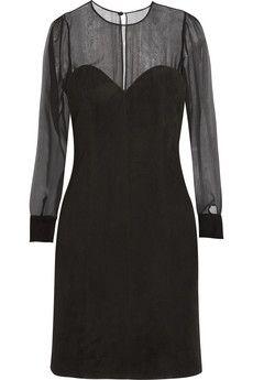 Saint Laurent Suede and silk-chiffon dress | NET-A-PORTER
