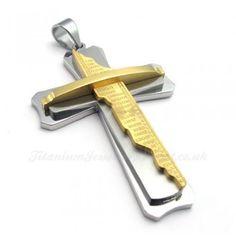Titanium Three Cross Pendant Necklace (Free Titanium Size: x x Jewellery Uk, Jewelry Gifts, Jewelery, Titanium Jewelry, Gold Chains For Men, Cross Pendant, Cross Necklaces, Jewelry Design, Egg Salad