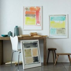 love the Arne J chair and muted tones of art - they pop yet blend