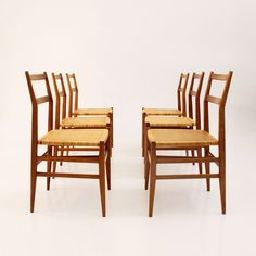 Set of 6 Leggera dinner chairs from the fifties by Gio Ponti for Cassina