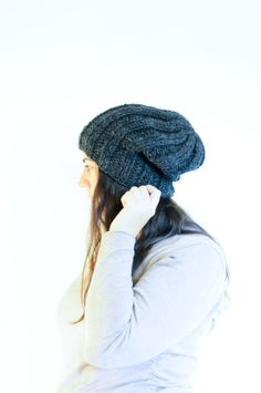 Knit Slouchy Hat / Winter Toque / Charcoal by daynightrose on Etsy