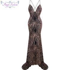Angel-fashions vestido de noiva Spaghetti strap Sequin Court Mermaid Long Evening Dress Black 224 ($61.99)