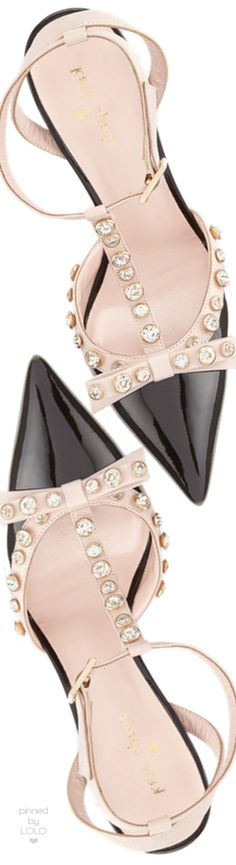 kate spade new york lydia studded patent pump, black-petal pink   LOLO❤︎