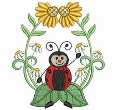 Lively Ladybugs 9 - 4x4 | Floral - Flowers | Machine Embroidery Designs | SWAKembroidery.com Ace Points Embroidery