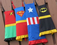 Kids superhero apron for girls or boys (chose your hero, no ruffles on boys aprons) From Etsy.