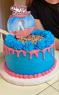 Bolos One Direction, One Direction Birthday, One Direction Cakes, Harry Styles Birthday, Harry Birthday, Pretty Birthday Cakes, Pretty Cakes, Cute Cakes, Bithday Cake
