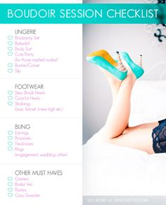 If you are planning a boudoir session or just starting to think about one for the future Pin and save this list! Bring it with you shopping so you don't miss anything! khboudoir.com #boudoir #checklist #boudoirprep