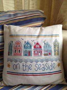 On the Seaside cross stitch cushion