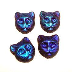 Cat Head Glass Beads | 4 Katzen Glasperlen | Topas AB *pe2236 - JAUL.biz