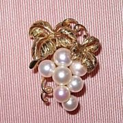 Vintage 14k Gold Mikimoto Cultured Pearl Brooch Pin
