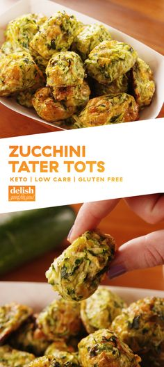 Once you pop one of these Zucchini Tater Tots, you won't be able to stop. Get the recipe at Delish.com. #recipe #easy #easyrecipe #zucchini #cheese #lowcarb #lowcarbdiet #lowcarbrecipes #keto #ketogenic #ketodiet #glutenfree #glutenfreediet #snack #appetizer