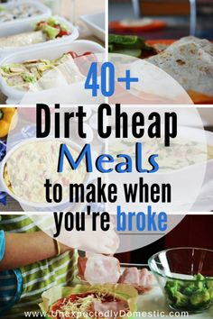 Check out these easy dirt cheap meals to make when you're on a budget. Here's the cheap food to buy when you're broke!Check out these easy dirt cheap meals to make when you're on a budget. Here's the cheap food to buy when you're broke! Dirt Cheap Meals, Cheap Meals To Make, Inexpensive Meals, Food To Make, Cheap Food, Cheap Meals On A Budget Families, Cheap Healthy Dinners, How To Eat Cheap, Easy Cheap Healthy Recipes