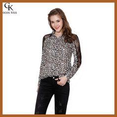 Fashion Sexy Women Chiffon Blouses Lace Splicing Sleeves Leopard Hot Close-fitting Turn-down Collar Ladies Yop Shirt