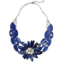 Host Pick! LOFT collection blue flower necklace HOST PICK!!!   Beautiful statement necklace             Chunky LOFT collection piece that pairs chiseled stones and sparkly gems all in one gorgeously saturated lapis palette. Lobster claw clasp w adjustable closure. 11'' drop. BRAND NEW   No Trades LOFT Jewelry Necklaces