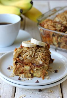 Banana Chocolate Chip French Toast with oatmeal crumble