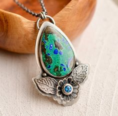 Silver Azurite Statement Necklace Handcrafted by EONDesignJewelry