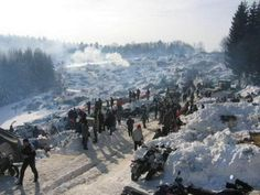 Elefantentreffen - the Elephant Moto Rally --- only for tough riders --- German organized motorcycle event in the Alps, during the winter, and involves camping in the snow, and to get there, you must arrive on a motorcycle
