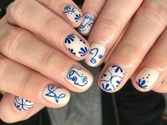Nail Design Stiletto, Nail Design Glitter, Nails Design, White Nails With Design, Blue And White Nails, Gel Nails, Acrylic Nails, Nail Polish, Manicure E Pedicure