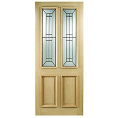Wickes Malton External Oak Veneer Door Glazed 2 Panel 1981x838mm
