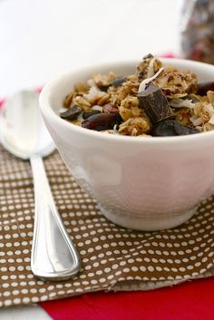 Cherry Chocolate Coconut Granola... looks more like dessert than breakfast!  This might get me to eat more greek yogurt on a daily basis though...