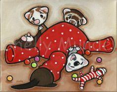 Art by Shelly Mundel - Ferrets Playing in the Playroom- Original Painting #ferret #art #ferretart
