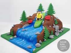 Great outdoors-man cake for a real kayak junky. Kayak Cake, Rehearsal Dinner Cake, Waterfall Cake, Dad Cake, 60th Birthday Cakes, Sport Cakes, Sculpted Cakes, Cake Gallery, Novelty Cakes