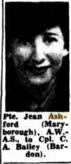 1944 Pte Jean Ashford engaged to Cpl C A Bailey Engagements, Brisbane, Engagement