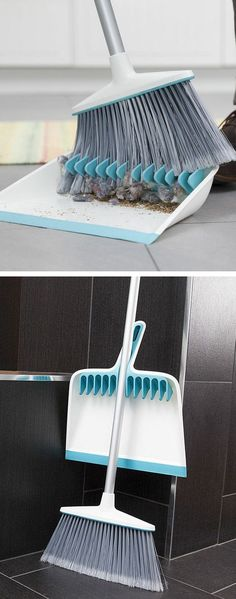 Dustpan with rubber teeth to comb out debris.Never been this excited about a broom and dustpan before. Gadgets And Gizmos, Cool Gadgets, Cleaning Solutions, Cleaning Hacks, The Flylady, Cool Inventions, Dustpan, Home Hacks, Cool Stuff