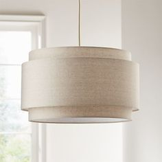 Avery Linen Double Drum Pendant Light at Crate and Barrel Canada. Discover unique furniture and decor from across the globe to create a look you love. Dining Room Light Fixtures, Dining Room Lighting, Home Lighting, Pendant Lighting Over Dining Table, Drum Light Fixture, Lighting Ideas, Mid Century Light Fixtures, Dining Pendant, Lighting Design