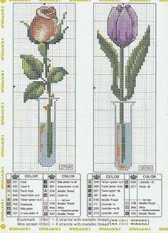 Cross stitch rose and tulip Funny Cross Stitch Patterns, Cross Stitch Love, Cross Stitch Flowers, Cross Stitch Designs, Cross Stitch Bookmarks, Cross Stitch Cards, Cross Stitching, Cross Stitch Embroidery, Copics