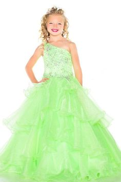 Shinning One Shoulder Beads Green Royal Blue Tulle