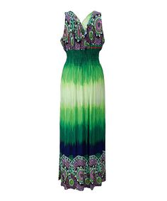 Another great find on #zulily! Green Ombré Medallion Shirred Maxi Dress - Plus by Ace Fashions #zulilyfinds
