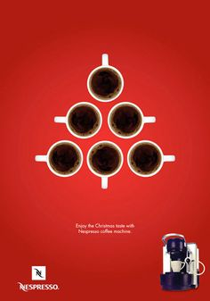 Love the Christmas ad for Nespresso! Although a few people done adverts like that this year, not very original? Ads Creative, Creative Advertising, Print Advertising, Advertising Campaign, Print Ads, Advertising Ideas, Product Advertising, Nespresso, Street Marketing