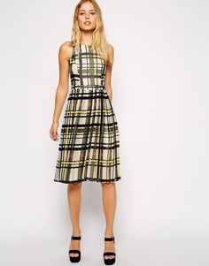 ASOS Midi Skater Dress with Pleated Skirt in Check Print