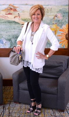 50 Is Not Old   White On White   Spring Outfit   Fashion over 40 for the everyday woman