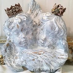 """This sweet angel cherub was created with such love and detail. hand painted in a soft white for french nordic charm. Perfect for nursery decor. This makes a lovely remembrance gift. Measures 11"""" wide"""